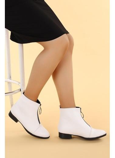 Ayakland Ayakland 8284-2003 Cilt Fermuarlı Bayan Bot Ayakkabı Beyaz